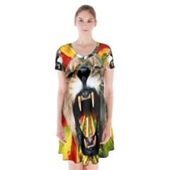 Reggae Lion Short Sleeve V-neck Flare Dress