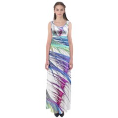 Satin Fractal Empire Waist Maxi Dress