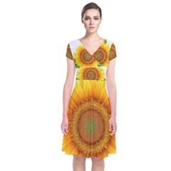 Sunflower Clipart Short Sleeve Front Wrap Dress