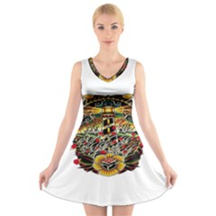 Tattoo Art Print Traditional Artwork Lighthouse Wave V-Neck Sleeveless Skater Dress
