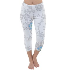 Traditional Art Batik Flower Pattern Capri Winter Leggings