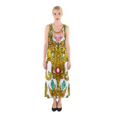 Traditional Thai Style Painting Sleeveless Maxi Dress