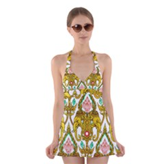 Traditional Thai Style Painting Halter Swimsuit Dress