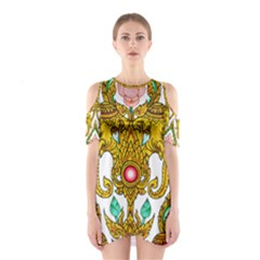Traditional Thai Style Painting Cutout Shoulder Dress