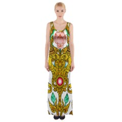 Traditional Thai Style Painting Maxi Thigh Split Dress