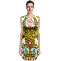 Traditional Thai Style Painting Classic Sleeveless Midi Dress