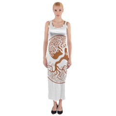 Tree Of Life Yin Yang Fitted Maxi Dress
