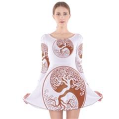 Tree Of Life Yin Yang Long Sleeve Velvet Skater Dress