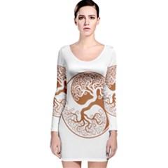 Tree Of Life Yin Yang Long Sleeve Velvet Bodycon Dress