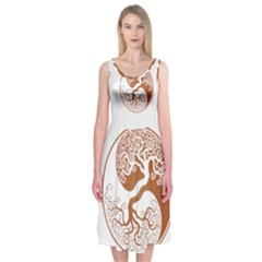 Tree Of Life Yin Yang Midi Sleeveless Dress