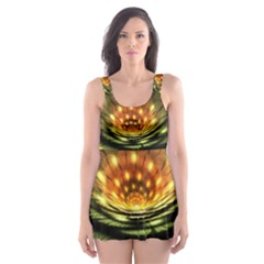 3d Abstract Flower Lotus Fractal Skater Dress Swimsuit