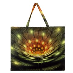 3d Abstract Flower Lotus Fractal Zipper Large Tote Bag