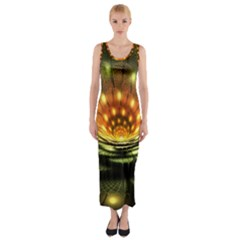 3d Abstract Flower Lotus Fractal Fitted Maxi Dress
