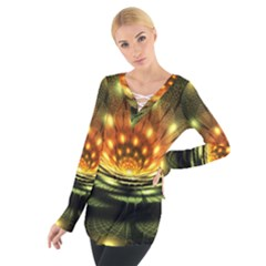 3d Abstract Flower Lotus Fractal Women s Tie Up Tee