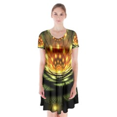 3d Abstract Flower Lotus Fractal Short Sleeve V-neck Flare Dress