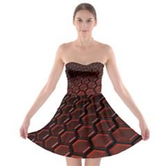 3d Abstract Pattern Hexagons Honeycomb Strapless Bra Top Dress