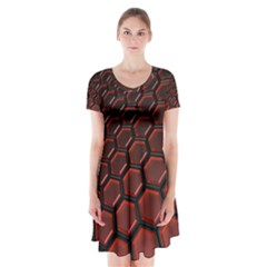 3d Abstract Pattern Hexagons Honeycomb Short Sleeve V-neck Flare Dress