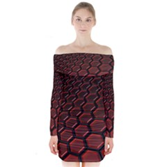3d Abstract Pattern Hexagons Honeycomb Long Sleeve Off Shoulder Dress