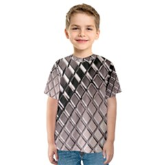 3d Abstract Metal Silver Pattern Kids  Sport Mesh Tee