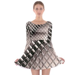 3d Abstract Metal Silver Pattern Long Sleeve Skater Dress