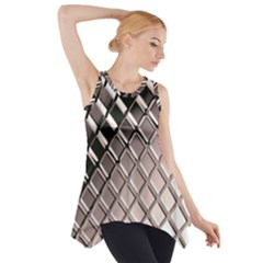 3d Abstract Metal Silver Pattern Side Drop Tank Tunic