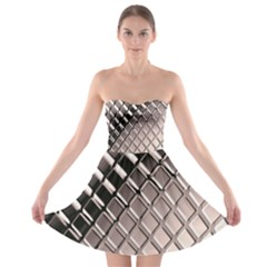 3d Abstract Metal Silver Pattern Strapless Bra Top Dress