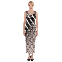 3d Abstract Metal Silver Pattern Fitted Maxi Dress