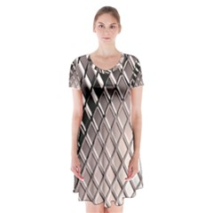 3d Abstract Metal Silver Pattern Short Sleeve V-neck Flare Dress