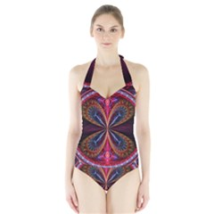 3d Abstract Ring Halter Swimsuit