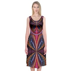 3d Abstract Ring Midi Sleeveless Dress