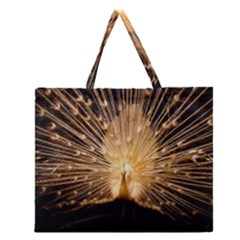 3d Beautiful Peacock Zipper Large Tote Bag