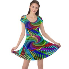 3d Black Swirl Cap Sleeve Dresses