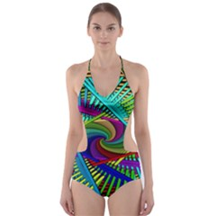 3d Black Swirl Cut-Out One Piece Swimsuit