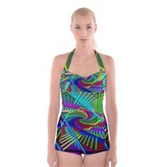 3d Black Swirl Boyleg Halter Swimsuit