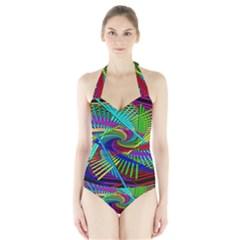 3d Black Swirl Halter Swimsuit