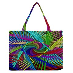 3d Black Swirl Medium Zipper Tote Bag