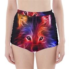 3d Colorful Fox High-Waisted Bikini Bottoms