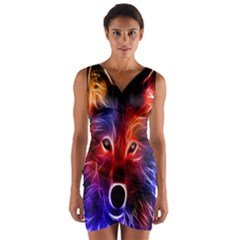3d Colorful Fox Wrap Front Bodycon Dress