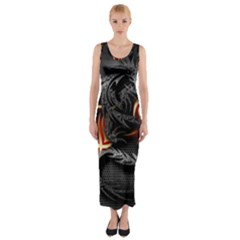 3d Dragon Fitted Maxi Dress