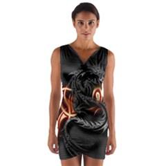3d Dragon Wrap Front Bodycon Dress