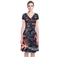 3d Dragon Short Sleeve Front Wrap Dress
