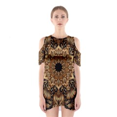 3d Fractal Art Cutout Shoulder Dress
