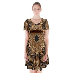 3d Fractal Art Short Sleeve V-neck Flare Dress