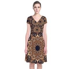 3d Fractal Art Short Sleeve Front Wrap Dress