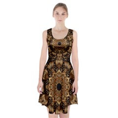 3d Fractal Art Racerback Midi Dress