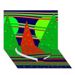 Magical Xmas night Heart Bottom 3D Greeting Card (7x5)