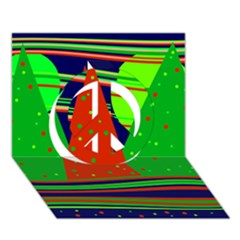 Magical Xmas night Peace Sign 3D Greeting Card (7x5)