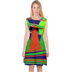Magical Xmas Night Capsleeve Midi Dress
