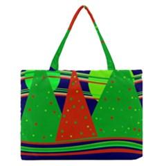 Magical Xmas night Medium Zipper Tote Bag