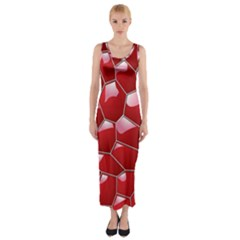 3d Honeycomb Pattern Fitted Maxi Dress